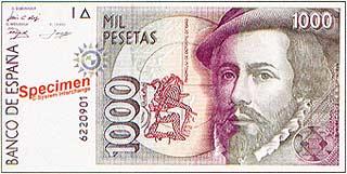 Эрнандо Кортес. 1000песет. Испания