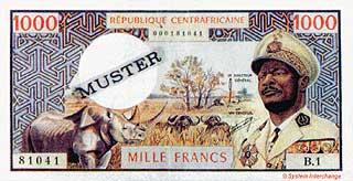 Носорог. 1000 франков. Центрально-Африканская Республика