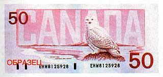 Полярная сова. 50 долларов. Канада