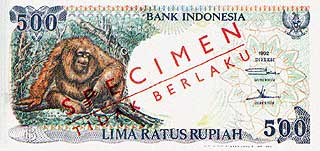 Орангутан. 500 рупий. Индонезия