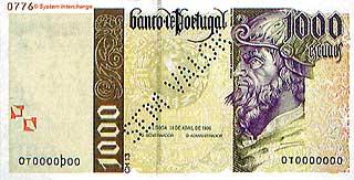 Педру Кабрал. 1000 эскудо. Португалия