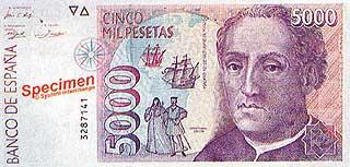 Христофор Колумб. 5000 песет. Испания
