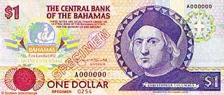 Христофор Колумб. 1 доллар, памятная банкнота. Багамские острова