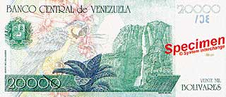 Водопад Анхель. 20000 боливаров. Венесуэла